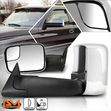 For 94-02 Dodge Ram 1500/2500/3500 Manual Telescoping Chrome Towing Mirror Pair