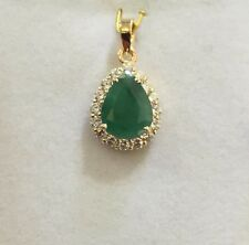 14k Solid Yellow Gold Pendant With Natural Pear Emerald4CT & Cubic Zirconia3.93G