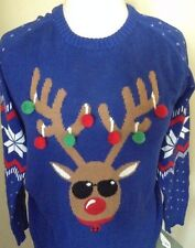 Blue Reindeer Tacky Ugly Christmas Sweater Party Sunglasses Women Size X Large