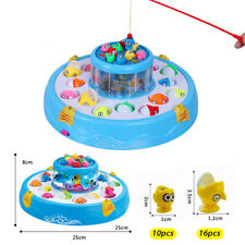 Kids Go Fishing Game Toy Electric Music LED Light Rotating Catch Magnetic Fish