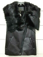 Jeans by Buffalo Black Moto Vest Faux Leather & Fur Sz Small Asymmetric Zip