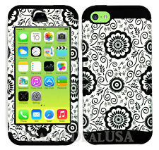 For Apple iPhone 5c KoolKase Hybrid Armor Silicone Cover Case - B&W Flower 56