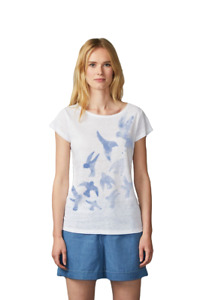 Päälä Damen T-Shirt weiß Leinen Druck Vögel Gr.S, M, L, XL