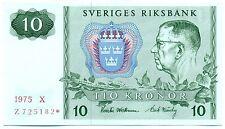 SWEDEN NOTE 10 KRONOR 1975 X PREFIX Z STAR REPLACEMENT P 52r1 AU