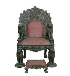 Antique Throne Chair Silver Charm Wood Carved Royal Maharaja Throne 18th Century