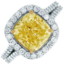 GIA Fancy Yellow 3.75 Carat Cushion Cut Diamond Engagement Ring in 18k Gold