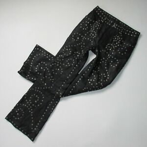 NWT We The Free People Studded Flare in Black Lamb Leather Crop Pants 24 $598