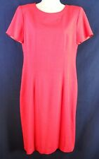 JESSICA HOWARD Red Cap Sleeve Shift Dress Size 10 U.S.A. Made W/ Shoulder Pads