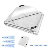 White Heavy Duty Multi-purpose Waterproof Poly Tarp Cover Tent Shelter Camping