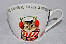 NEW Portobello By Dsign Bone China WInter Christmas Cat TIS THE SEASON Mug cup