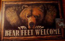 Bear Feet Welcome Brown Rug Door Mat Cabin Lodge Home Decor Heavy Rubber Back