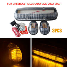 3PC Cab Roof Running Amber LED Lights for Chevy Silverado/GMC Sierra 2002-2007