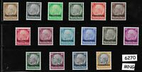 Complete Mint set Luxembourg overprints  Hindenburg Third Reich occupation WWII