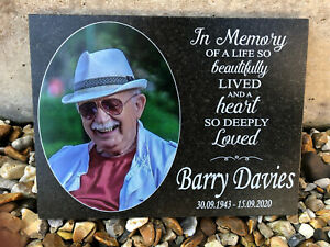 Large Photo Personalised Granite Memorial Grave Plaque Headstone - Any Photo
