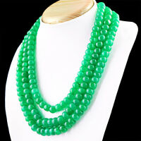 1166.00 Cts Earth Mined 3 Strand Green Emerald Round Shape Beads Necklace (RS)