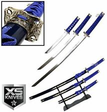 "3pc SET 40"" Katana Swords BLUE Dragon Carbon Steel w/Stand Collectible Samurai"