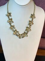 Vintage Rhinestone Apple Blossom Gold Glass Crystal Statement Necklace 18 Inches