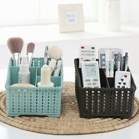 KQ_ CW_ 4 Grids Cosmetic Organizer Desktop Makeup Storage Box Container Weaving