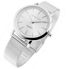 Damen Herren Armbanduhr Silbern Edelstahlarmband Meshband von Excellanc