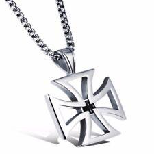 Belle Croix Pour Homme Médiéval gothique En Argent avec Chaine Pendentif Mode