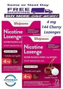 2 Pack Walgreens Nicotine Lozenge 4 mg 72Ct. Cherry Flavor Compared Nicorette