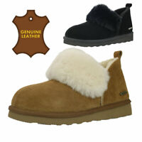 Pamir Women's Genuine Suede Shearling Ankle Booties Moccasin Slippers Boots