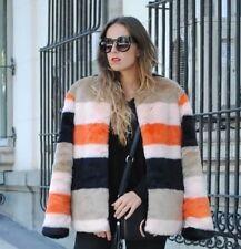 ZARA Orange Black Stripe Faux Fur Coat Size Large L Colourful Jacket Stripped