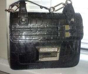 Gorgeous Guess Handbag Black Croc Pattern Medium