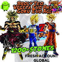 🌟Dokkan Battle - Broly TEQ Vegeta Evo Goku Evo with 1200+ Dragon Stones Fresh