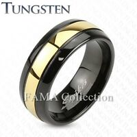 FAMA Brushed Surface with Glossy Interior Classic Dome Black Titanium Ring
