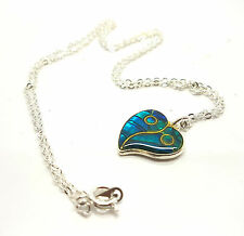 Stainless Steel Women Jewelry Blue Heart Charms Pendant Necklace UK SALE
