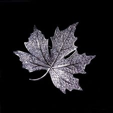 Queen Victorian Jewelry Micro Pave CZ Canadian Maple Leaf Brooches Pins Silver
