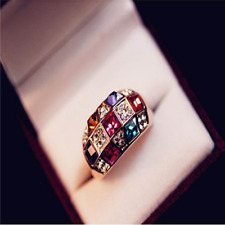 HOT ~ Fashion Men Women Multicolor Sapphire Gold Filled Engagement Ring Jewelry