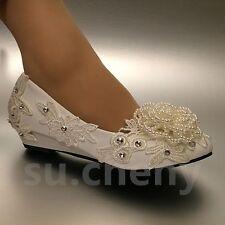 Su.cheny Cuña Pearl Blanco Marfil Encaje Flores Estrás Zapatos Novia Boda