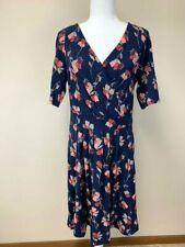 Lands End M Medium Navy Blue Floral Surplice Bodice Pleated Front Dress Cotton