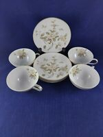 MEITO CHINA 4 TEA CUPS & SAUCERS DIAMETER JAPAN. FLOWERS WITH GOLD TRIM.