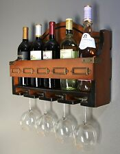 Wood Kitchen Bar Wine Storage Rack Wall Mounted Hanging Bottle Glass Holder New