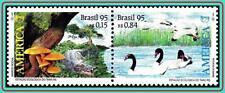 BRAZIL 1995 REPTILES, BIRDS, MUSHROOMS SC#558-59 MNH CV$4.00 ANIMALS, PLANT