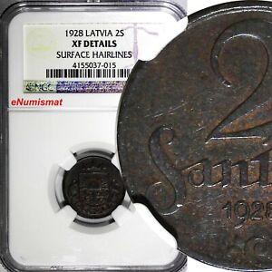Latvia Bronze 1928 2 Santimi NGC XF DETAILS  KM# 2 (015)