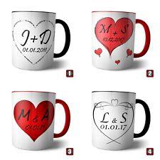 Tasse Herz mit Datum und Initialen von Dir und Deinem Schatz Hochzeit Love Liebe