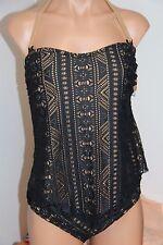 NWT BECCA  Swimsuit Tankini 2 pc set Plus Size 0X(14-16)  Crochet BLK
