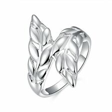 925 Silver Plt Olive Leaves Ring Leaf Autumn Feather Wrap Double Thumb Gift A