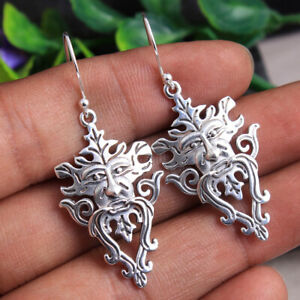 Fine HANDMADE Jewelry 925 Solid Sterling Silver Lion Face Earring