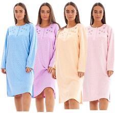 Women Fleece Nightwear Floral Long Sleeve Button Dot Spot Warm Thermal Nightie