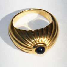 Signed Cartier 18 K yellow gold Sapphire Cabochon Men's ring size 8