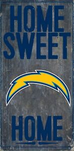 """Los Angeles Chargers Home Sweet Home Wood Sign NEW 6"""" x 12"""" Wall Decoration Gift"""