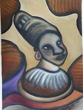 Aceite De África/Pintura De Acrílico Original Firmado Chica Cabeza Tribal Folk Art
