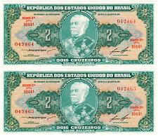 Brazil 2 Cruzeiros P#157Ab (1956) *2 Consecutive Banknotes* UNC