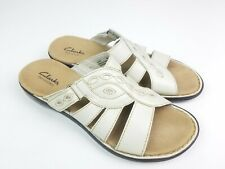 Clarks Womens 8m Sandals Open Toe Bendables Lena Angie Birch Leather Slides