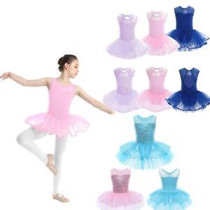 Kids Girls Ballet Dress Dance Gymnastics Leotard Tutu Skirt Performances Costume